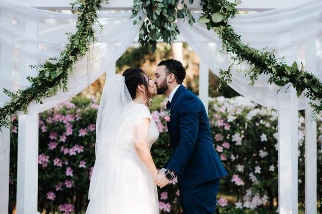 Orlando Florida Federation of Garden Clubs Romantic Wedding Couple Altar Kiss