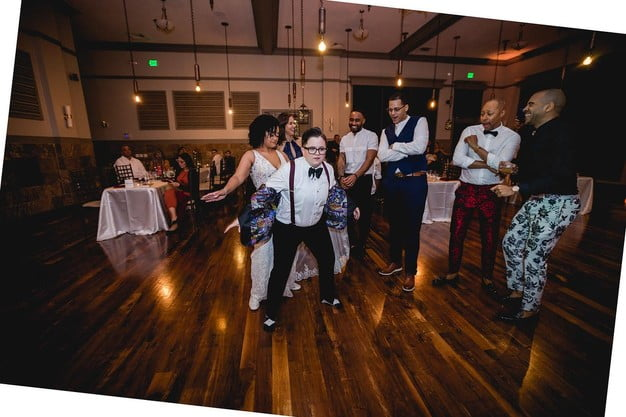 wedding couple front and center on dancefloor